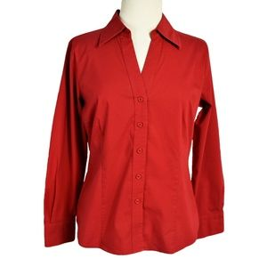 Worthington 12 Petite Classic Button Down Top Red